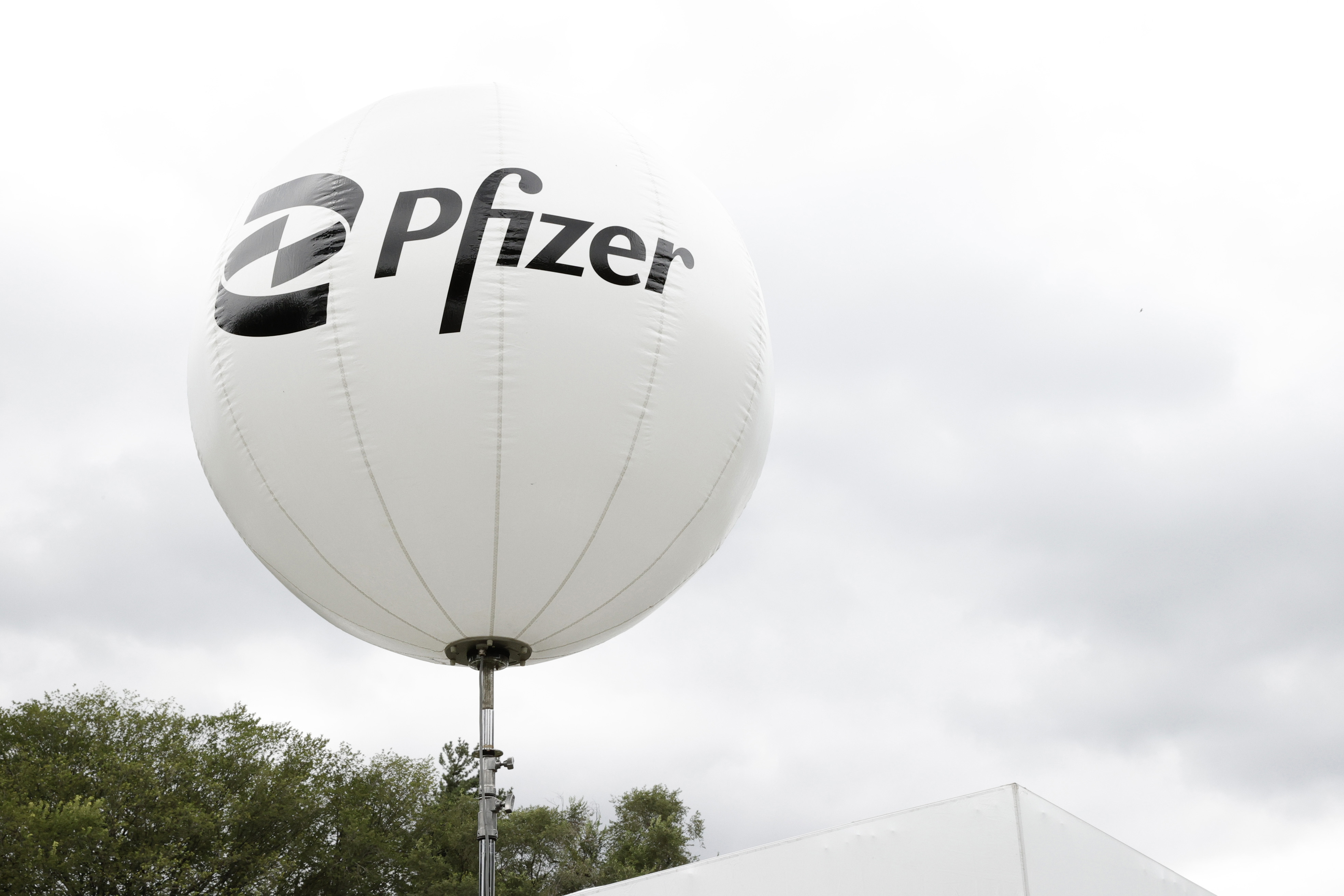 A view of Pfizer signage in New York City. (Photo by Jamie McCarthy/Getty Images for Live Nation)