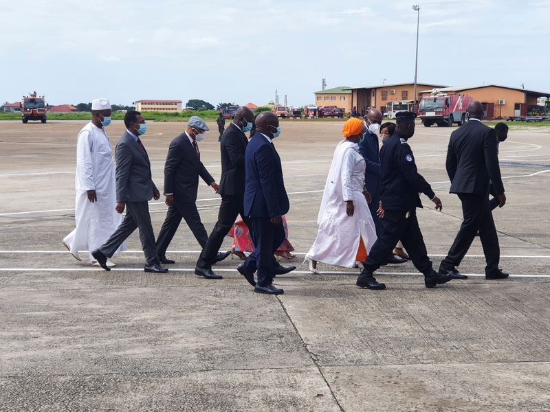 Envoys from the Economic Community of West African States (ECOWAS) for the Guinea crisis arrive in Conakry
