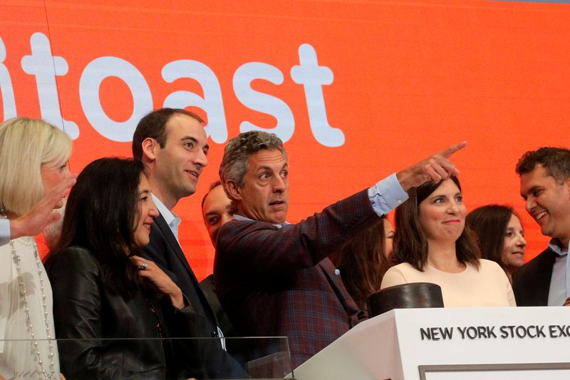 Chris Comparato, CEO of Toast Inc, and Toast Inc. co-Founder Steve Fredette attend their company's IPO at the NYSE in New York