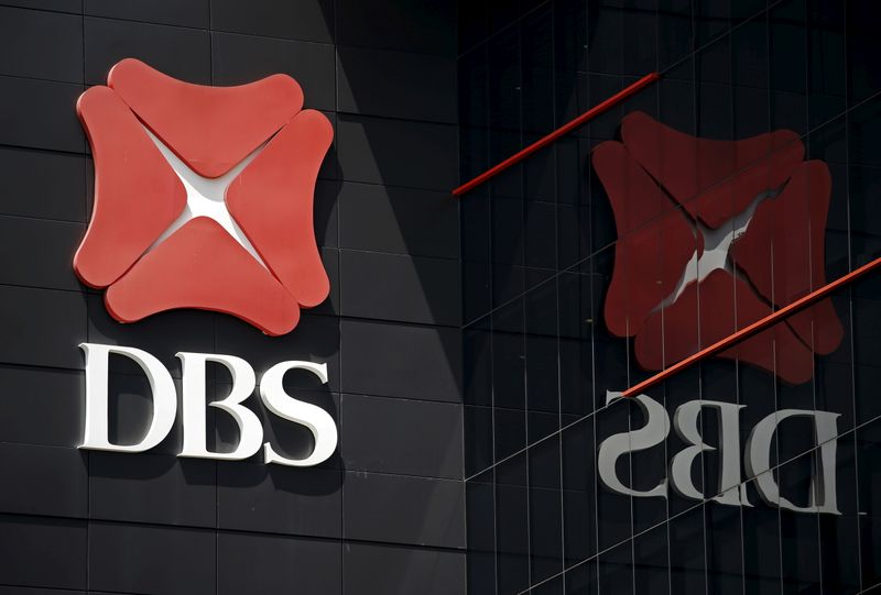 FILE PHOTO: A logo of DBS is pictured outside an office in Singapore