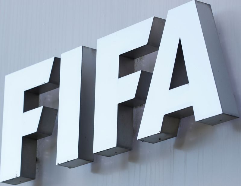 FILE PHOTO: FIFA's logo is seen in front of its headquarters in Zurich
