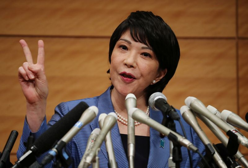 Japanese lawmaker Sanae Takaichi speaks at a news conference in Tokyo