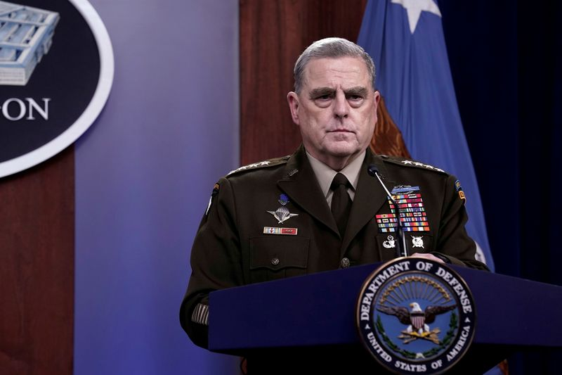 FILE PHOTO: Defense Secretary Lloyd Austin and Joint Chiefs of Staff Chairman Army General Mark Milley hold a news conference