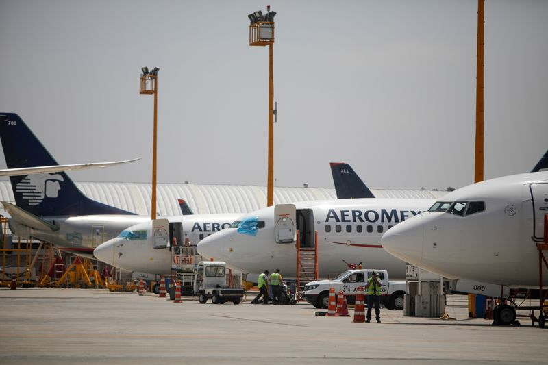 Aeromexico airplanes are pictured at the Benito Juarez International airport, in Mexico City