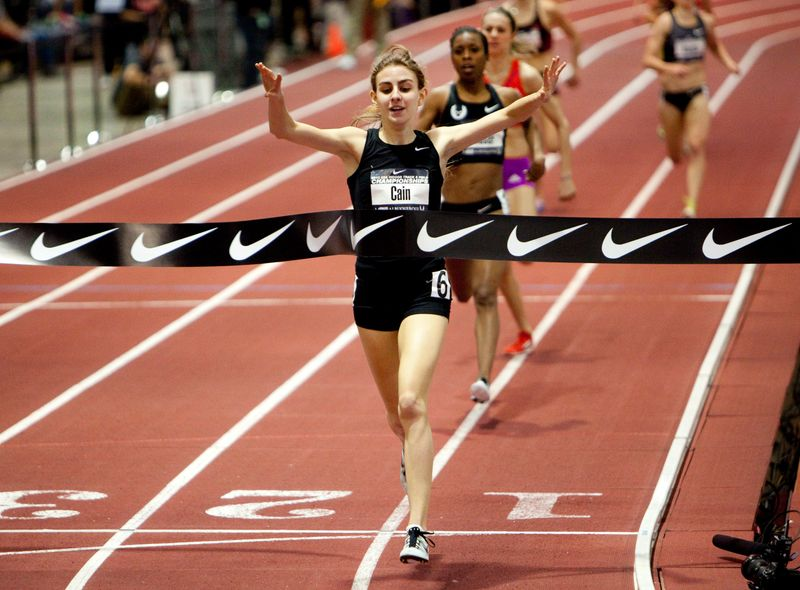 FILE PHOTO: Cain celebrates as she wins the women's 1 mile run finals at the USA Indoor Track and Field Championships in Albuquerque