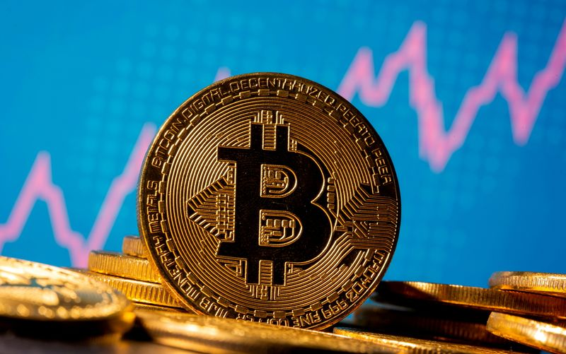 eFILE PHOTO: A representation of virtual currency bitcoin is seen in front of a stock graph