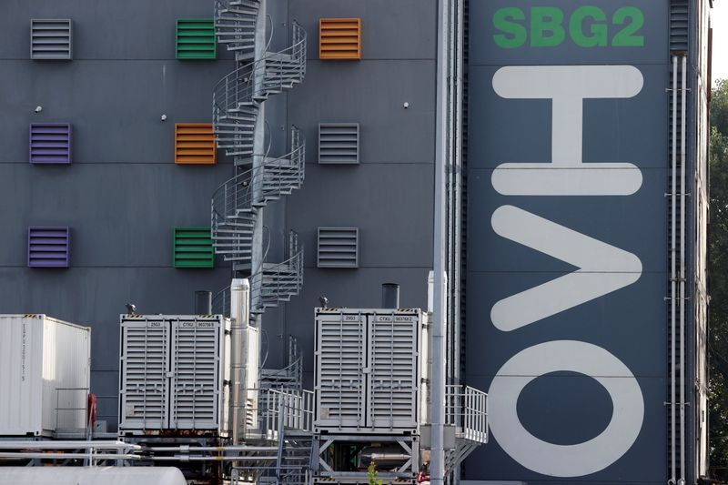 The logo of French cloud computing company OVHcloud is seen on a data-center building in Strasbourg