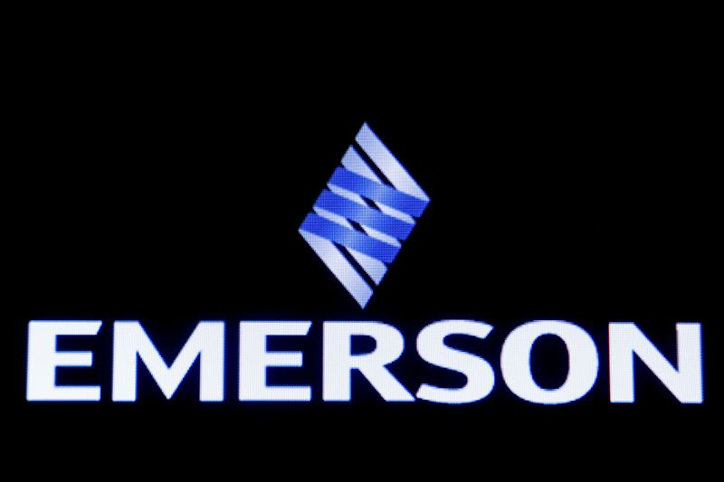 Emerson Electric Co is displayed on a screen on the floor at the NYSE in New York