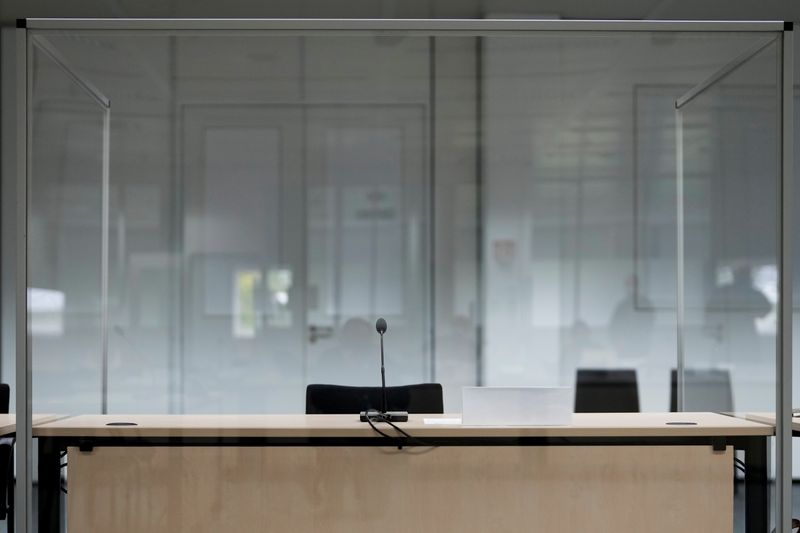 The picture shows the empty seat of the accused 96-year-old former secretary to the SS commander of the Stutthof concentration camp before a trial against her, in Itzehoe