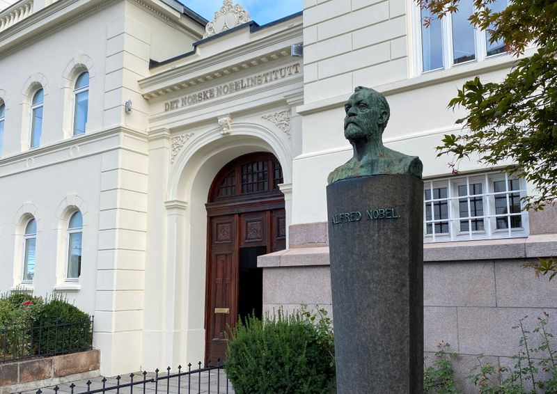An outside view of the Norwegian Nobel Institute with a bust of Alfred Nobel, in central Oslo