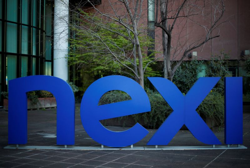 The logo of Italian payments group Nexi is pictured outside their headquarters in Milan