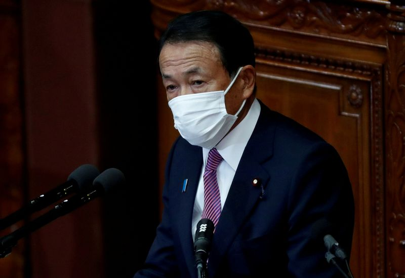 FILE PHOTO: Japan's key economic ministers deliver policy speeches at start of parliament sessions