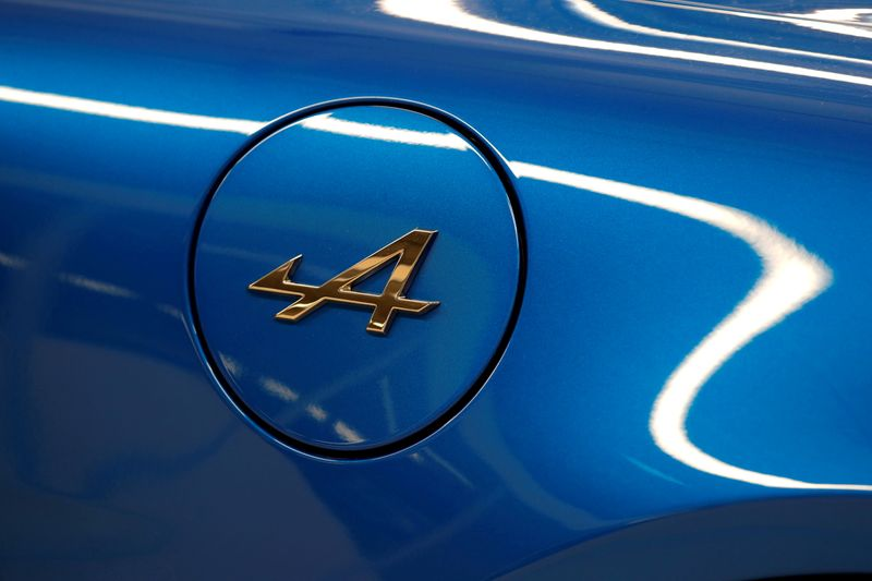 FILE PHOTO: The Alpine logo is seen on the new Alpine A110 sports car during the inauguration of the new production line in Dieppe, France