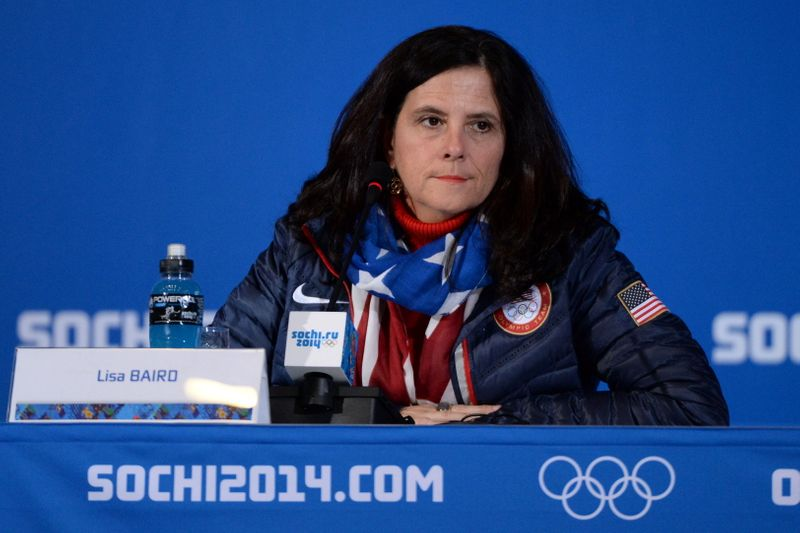 United States Olympic Committee (USOC) chief marketing officer Lisa Baird addresses the media in Sochi