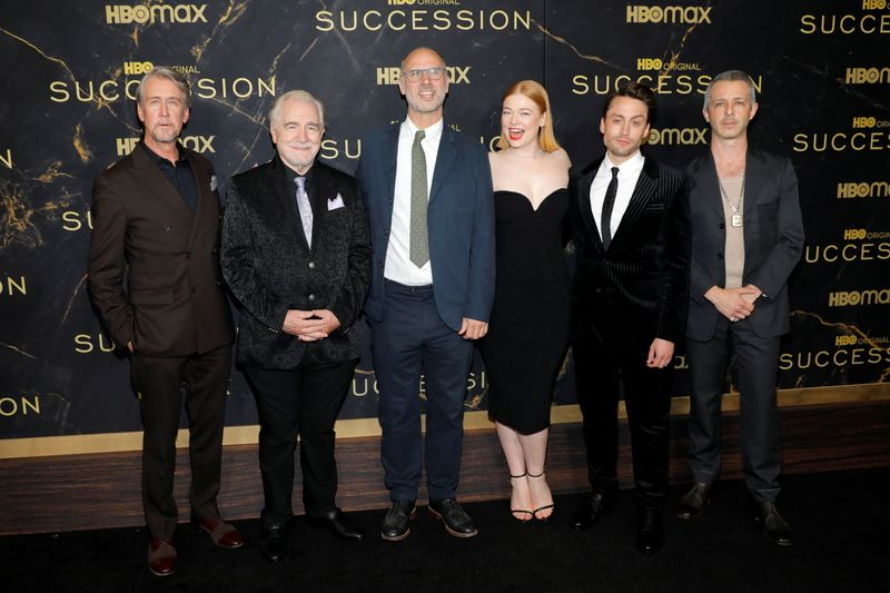 Alan Ruck, Brian Cox, Jesse Armstrong, Sarah Snook, Kieran Culkin and Jeremy Strong poses while attending the premiere of the third season of