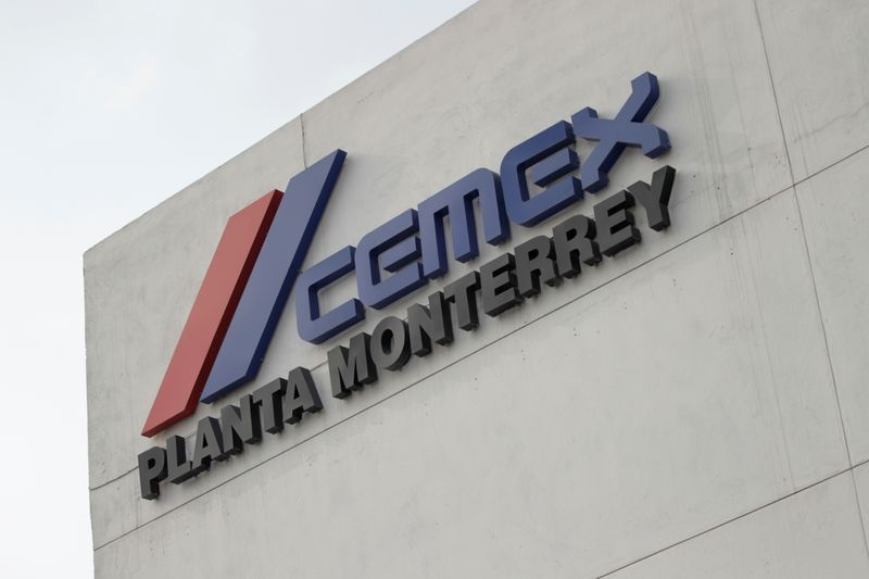 The logo of Mexican cement maker CEMEX is pictured at it's plant in Monterrey