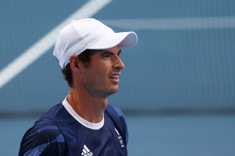 FILE PHOTO: Andy Murray in action during training