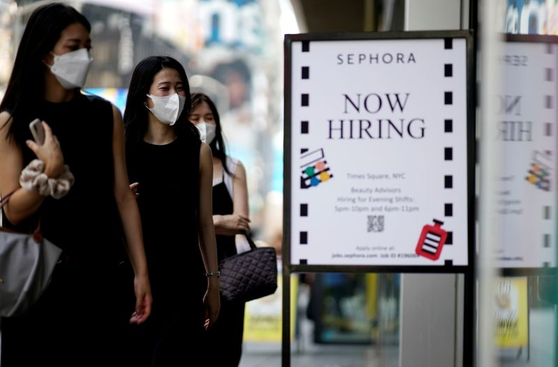 FILE PHOTO: A sign advertising job openings is seen in New York