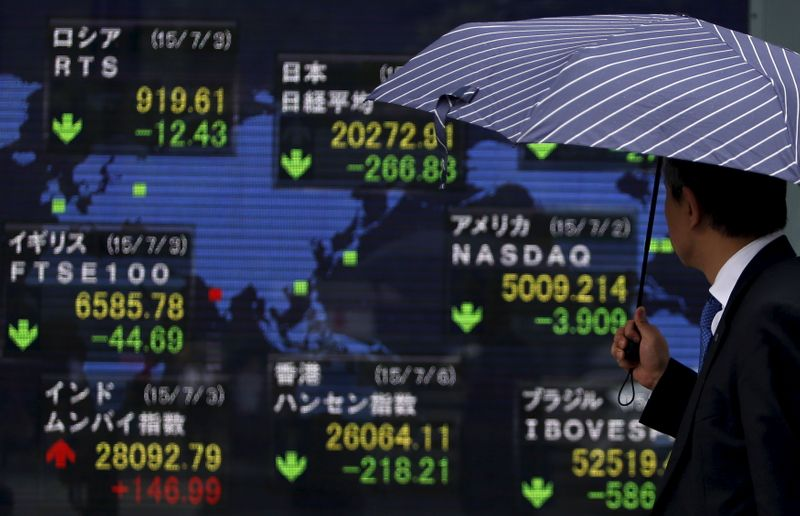 A pedestrian holding an umbrella looks at an electronic board the stock market indices of various countries outside a brokerage in Tokyo