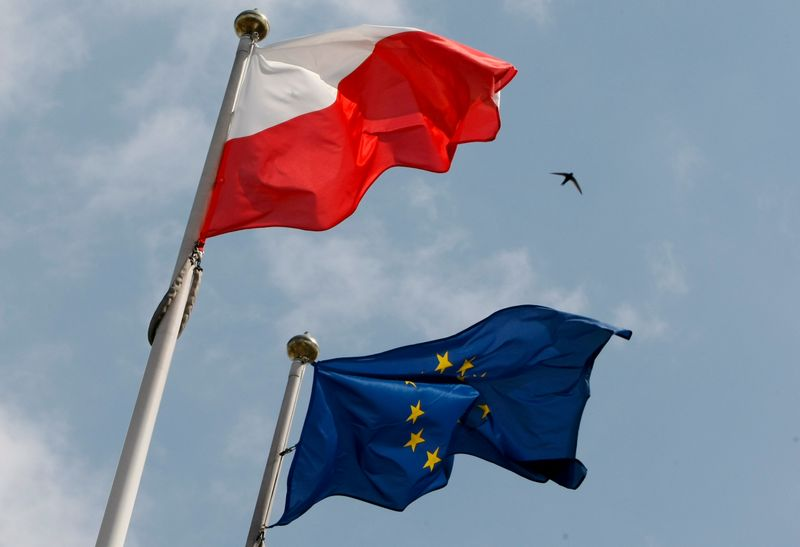 The flags of Poland and European Union flutter in front of the Polish parliament in Warsaw