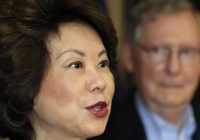 Elaine Chao confronts protesters, defends husband Mitch McConnell