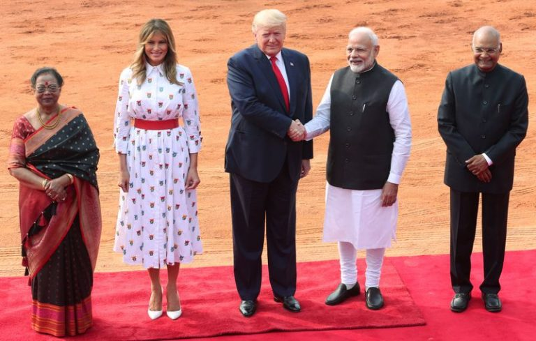 After raucous welcome in India, Trump says making progress on trade, arms deals