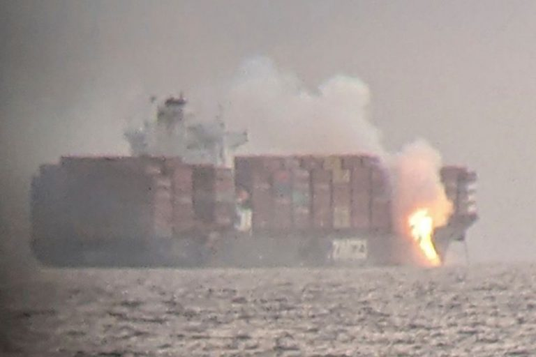 Container ship fire off British Columbia smoldering, no longer spreading
